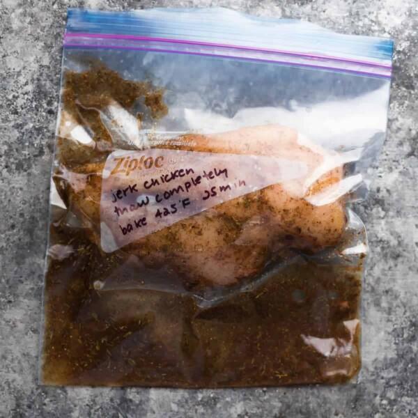 shortcut jerk chicken marinating in bag