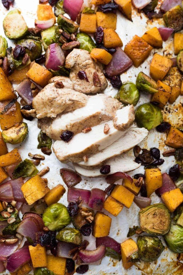 This cranberry balsamic sheet pan chicken has all the flavors of fall and is simple to throw together on a weeknight. You can also prep components ahead and store in the fridge for up to 5 days, making it even easier!