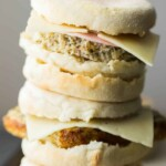 stack of cauliflower herb freezer breakfast sandwiches