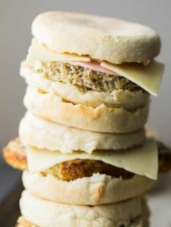 stack of cauliflower herb freezer breakfast sandwiches