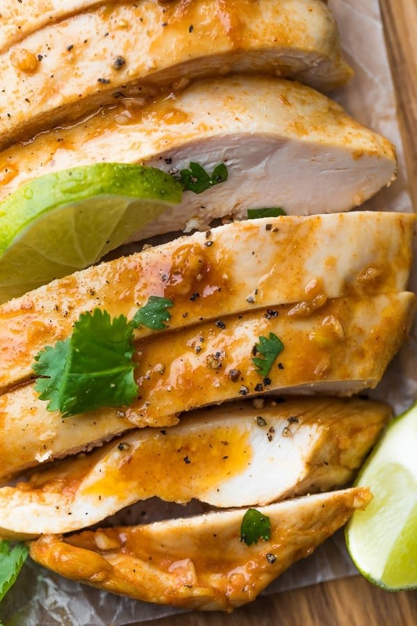 close up of cooked and sliced chipotle chicken breast