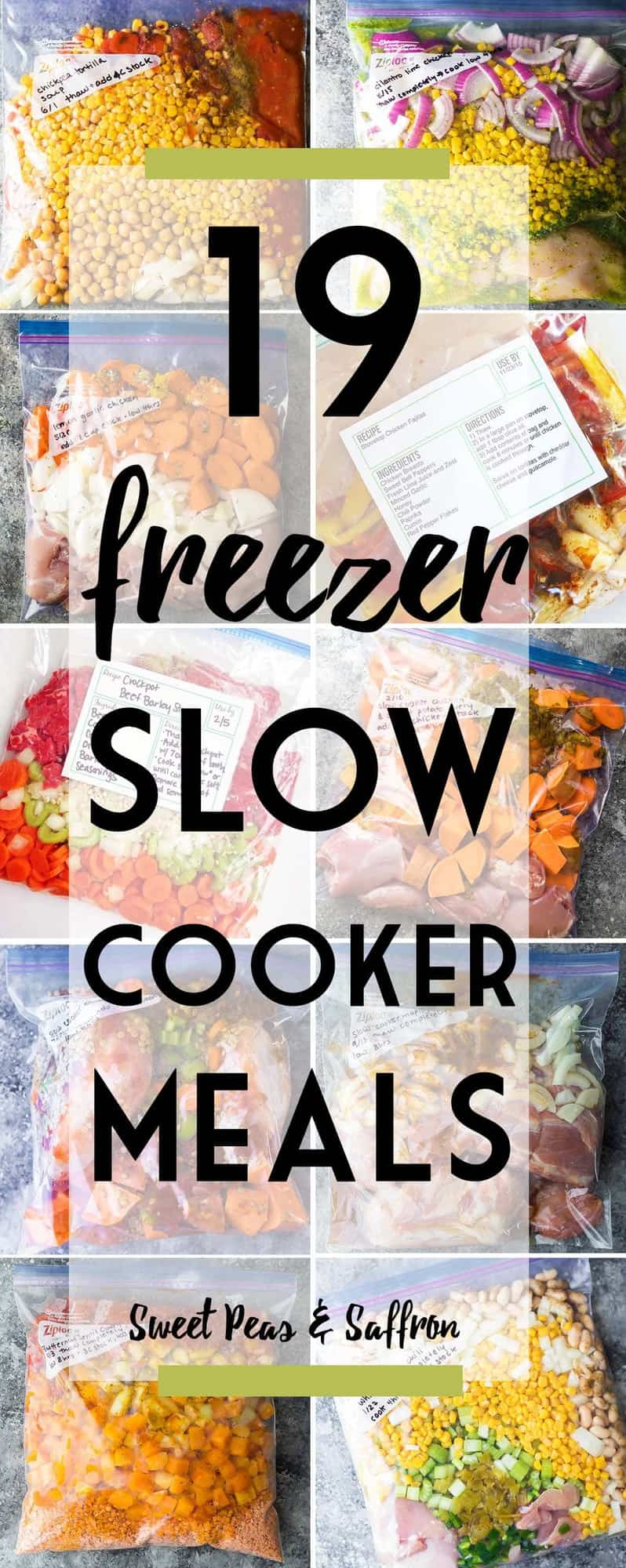 Crockpot Freezer Meals make for the most effortless weeknight dinners...just dump them into the slow cooker and set the timer! Here are some delicious and healthy freezer crockpot meals to stock up on!