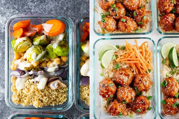 collage image with two of the 46 Easy Lunch Meal Prep Ideas