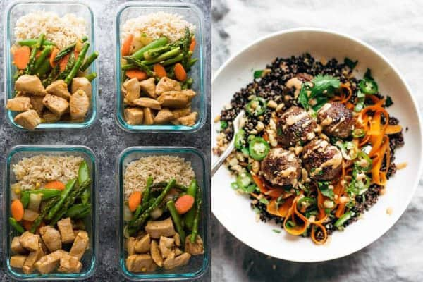 collage image with two of the 46 Easy Lunch Meal Prep Ideas (Updated)