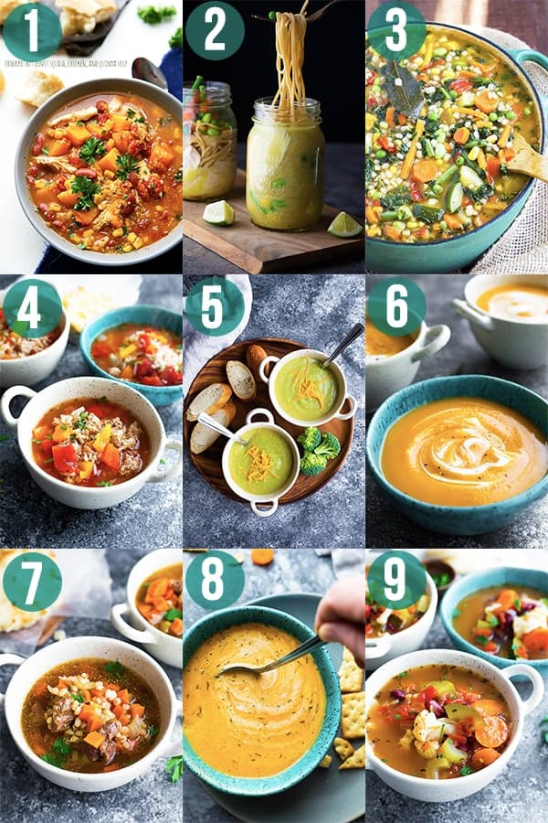 collage image with 9 meal prep recipes for soup