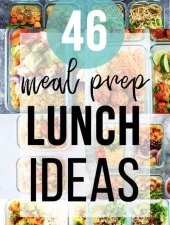collage image with various foods and text overlay saying 40 meal prep lunch ideas