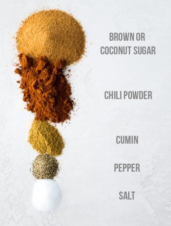 ingredients lined up for brown sugar chili rub with labels on white background