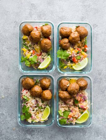 Honey Chipotle Meatball Meal Prep Bowls (+ video)