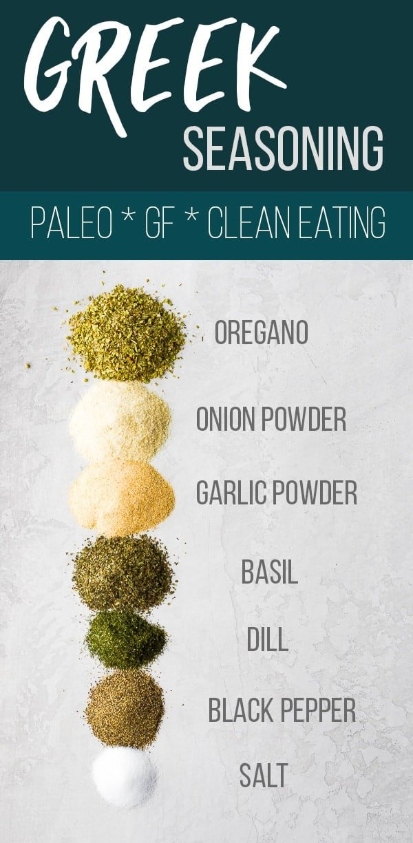 Easy Greek seasoning blend is made with simple pantry staples and is perfect for sprinkling on fish, chicken, and veggies! Prepare a big batch to save money and avoid unhealthy chemicals or additives found in store-bought seasoning blends. Gluten-free, clean eating, vegan and paleo-compliant. #sweetpeasandsaffron #mealprep #greek #seasoning #rub #spiceblend #spice #paleo #whole30 #cleaneating #glutenfree #vegan