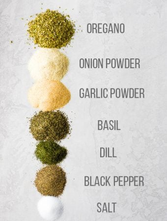 ingredients to make greek seasoning blend with labels on white background