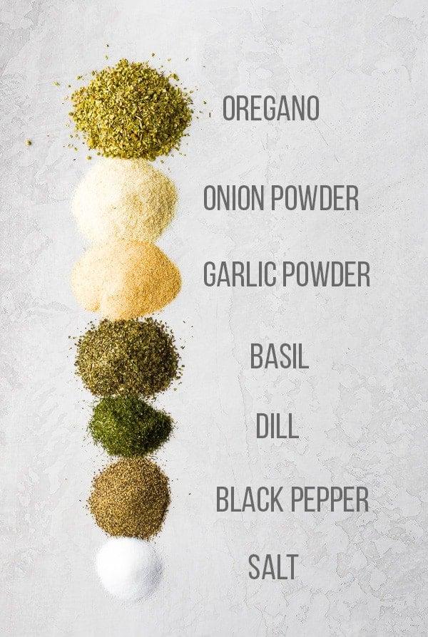 Ingredients used in the Easy Greek Seasoning Blend