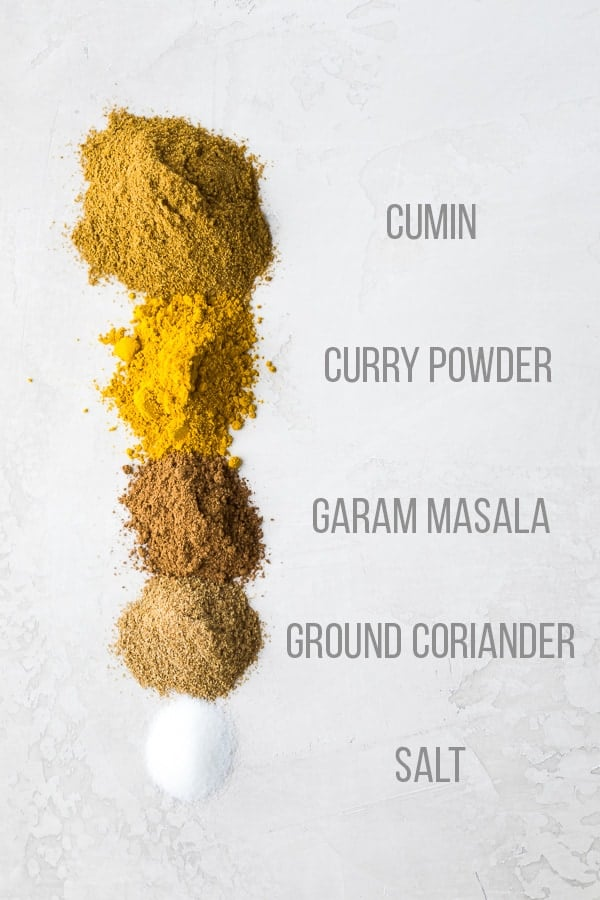 spices used in this Homemade Indian Spice Mix laid out on the table