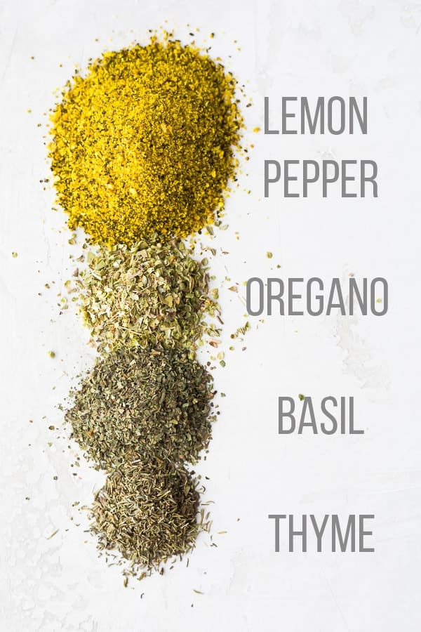 Ingredients of Lemon Herb Seasoning Recipe laid out on white table