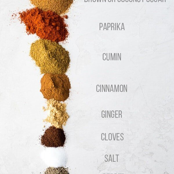 ingredients lined up for moroccan spice blend with labels on white background