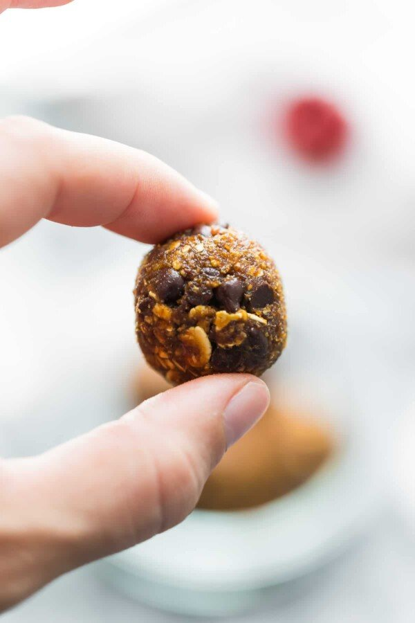 Gingerbread chocolate chip energy bites are a healthier way to get your holiday sweets fix. These are completely coconut, seed and nut-free energy balls.