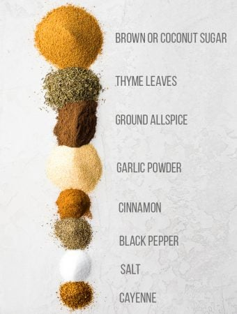 image showing the various ingredients with text description for jamaican jerk seasoning