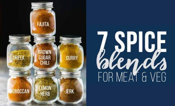 7 spice blends all stacked up in jars