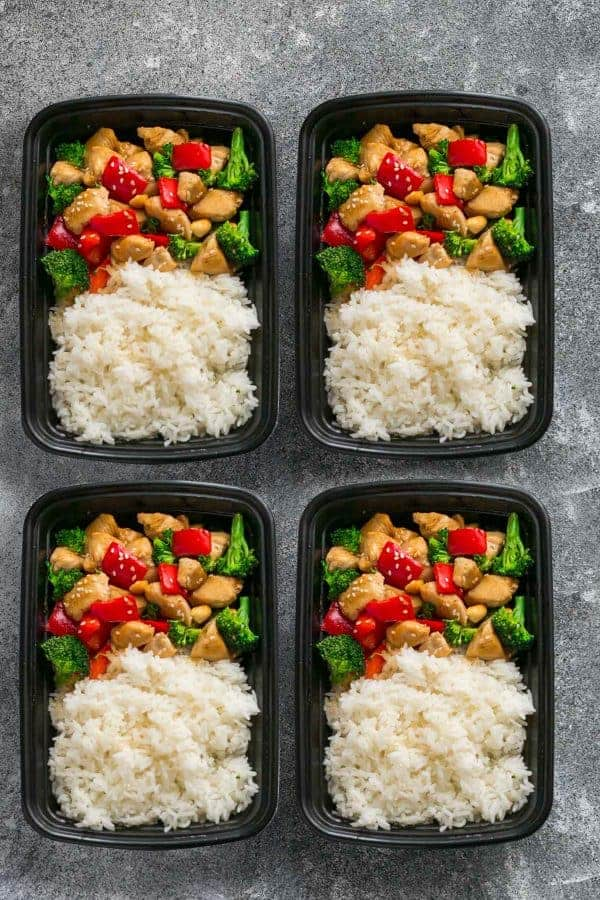 Cashew Chicken Sheet Pan in four prep containers