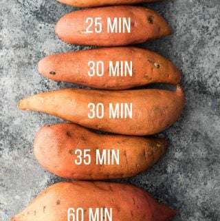 overhead shot of sweet potatoes lined up with text showing number of minutes to cook each