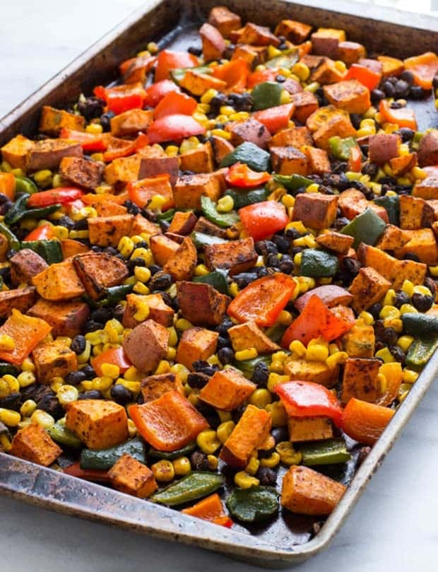 One Pan Mexican Sweet Potato Bake on sheet pan