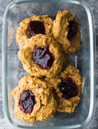 peanut butter and jam breakfast cookies in glass container