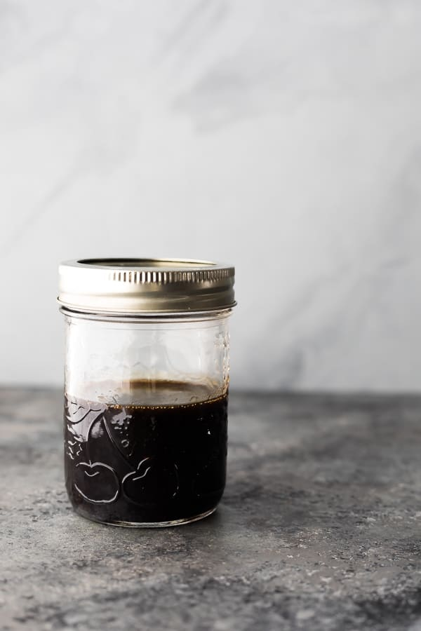 balsamic vinaigrette shaken up in a mason jar