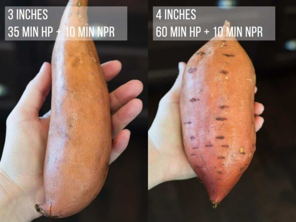 collage image of a hand holding two different sized sweet potatoes with Instant Pot cook times indicated