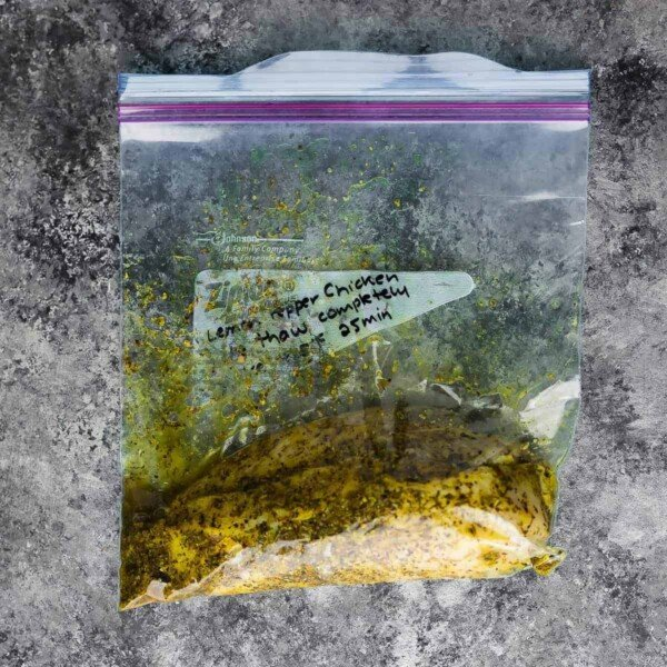Lemon Herb Seasoning Recipe as a marinade with chicken in a ziploc bag