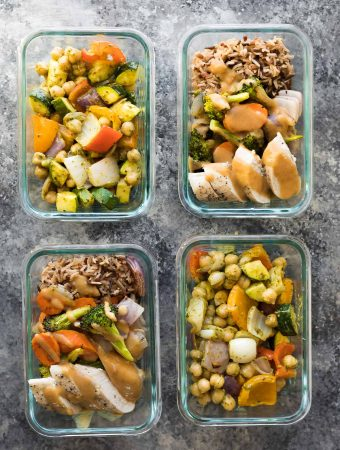 Sheet Pan Meal Prep 2 Ways (Chickpea Pitas and Thai Lunch Bowls)