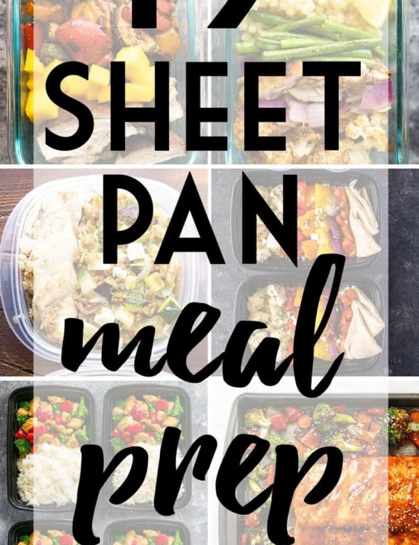 collage image of a variety of meals with text overlay saying sheet pan meal prep