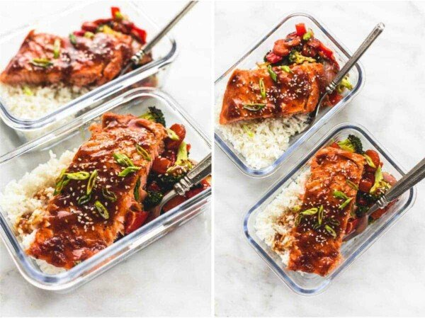 One Pan Baked Teriyaki Salmon and Vegetables in glass meal prep containers with fork