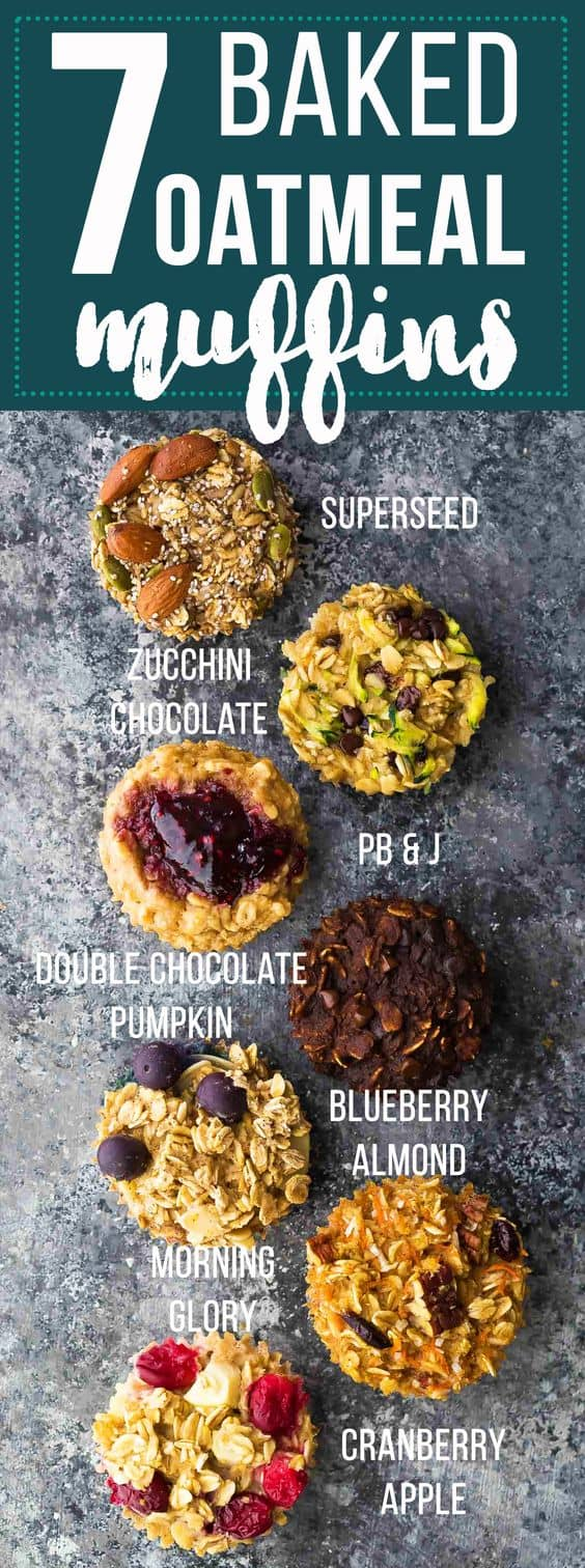 Easy baked oatmeal muffins are a delicious meal prep breakfast or snack on the go to help make your mornings easier. They are easily made gluten-free and vegan, are freezer-friendly, and are customized with seven different flavor variations so you'll never get bored!