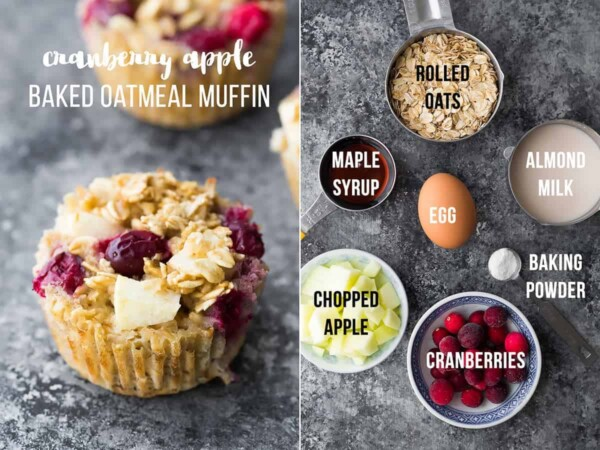 collage image with ingredients and final product for cranberry apple baked oatmeal cups