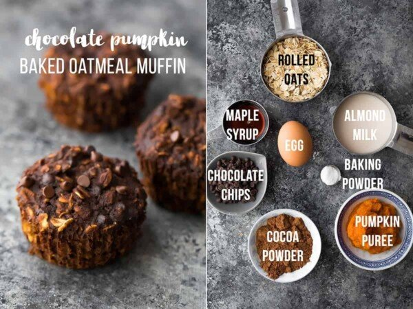Easy baked pumpkin oatmeal muffins are a delicious meal prep breakfast or snack on the go. They are easily made gluten-free and vegan, are freezer-friendly, and are customized with seven different flavor variations so you'll never get bored! #sweetpeasandsaffron #mealprep #oatmeal #muffin