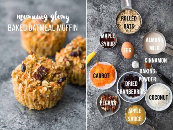 collage image with ingredients and final product for morning glory baked oatmeal muffins