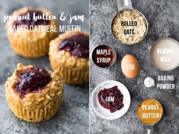 collage image with ingredients and final product for peanut butter and jam baked oatmeal cups