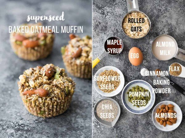 Easy baked oatmeal muffins recipe are a delicious meal prep breakfast or snack on the go. They are easily made gluten-free and vegan, are freezer-friendly, and are customized with seven different flavor variations so you'll never get bored! #sweetpeasandsaffron #mealprep #oatmeal #muffin