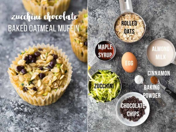 collage image with ingredients and final product for zucchini chocolate chip baked oatmeal muffins