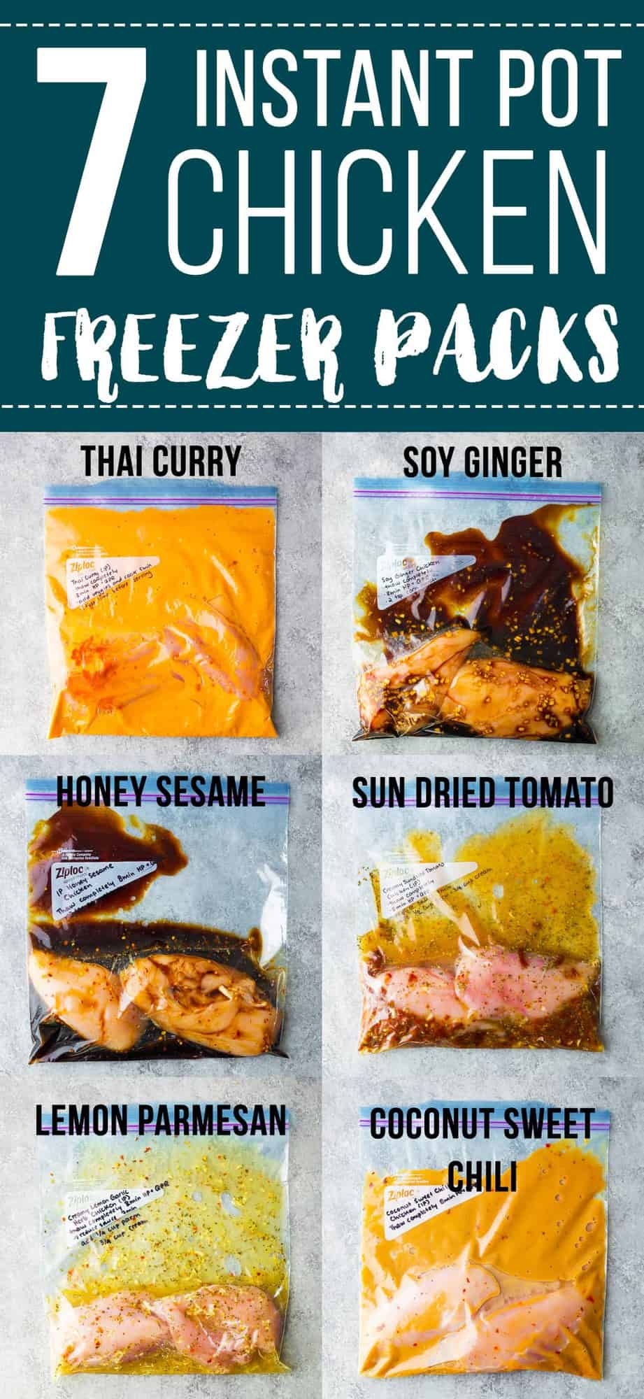 These delicious Instant Pot chicken breast recipes are the solution to weeknight dinner stress. Assemble the ingredients ahead and freeze until you are ready to cook up! SEVEN flavors so you will never get bored with dinner, and each one comes with a sauce that is perfect for spooning over rice and veggies. frozen instant pot chicken breast, healthy instant pot chicken breast #sweetpeasandsaffron #mealprep #chicken #instantpot #freezer