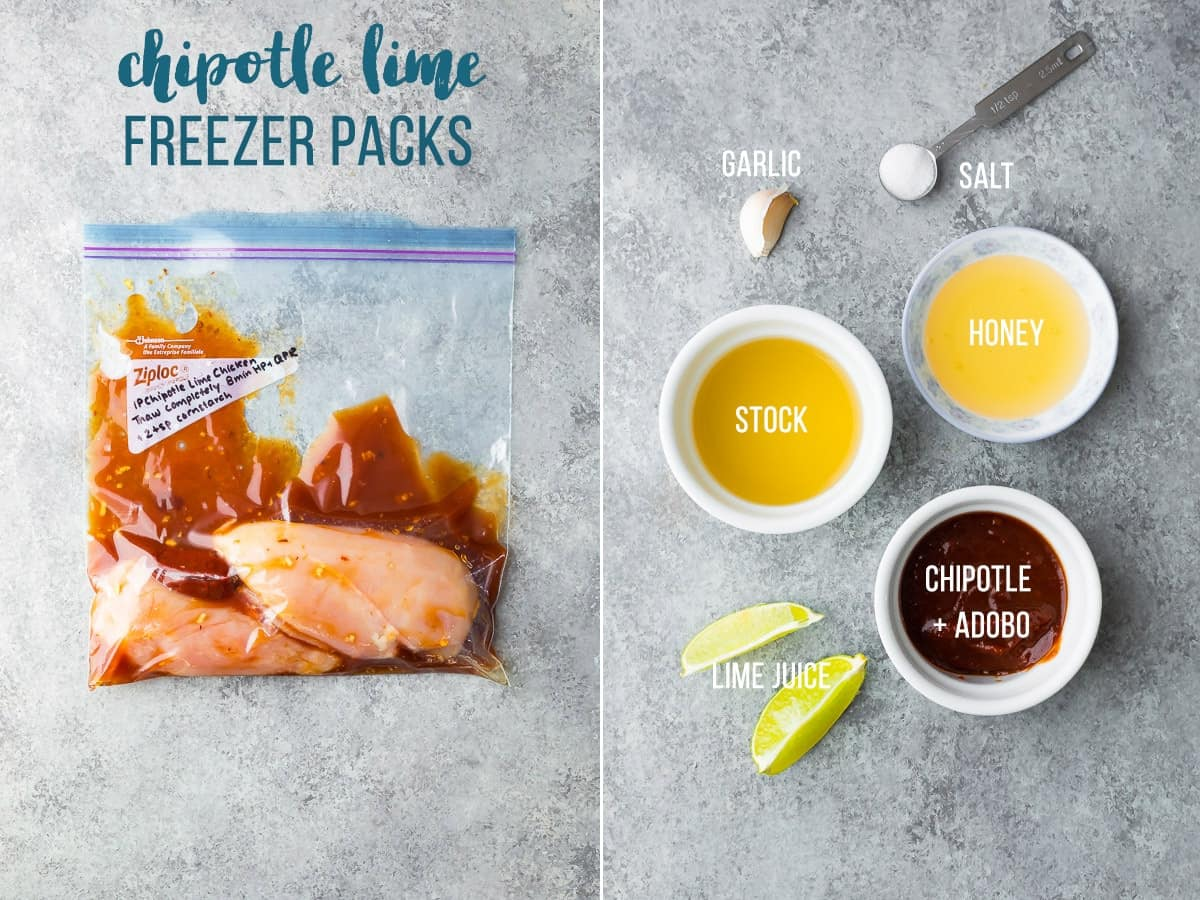 Bag of Chipotle Lime Instant Pot Chicken Recipe for freezer. Ingredients for Chipotle Lime Instant Pot Chicken Breast Recipe.