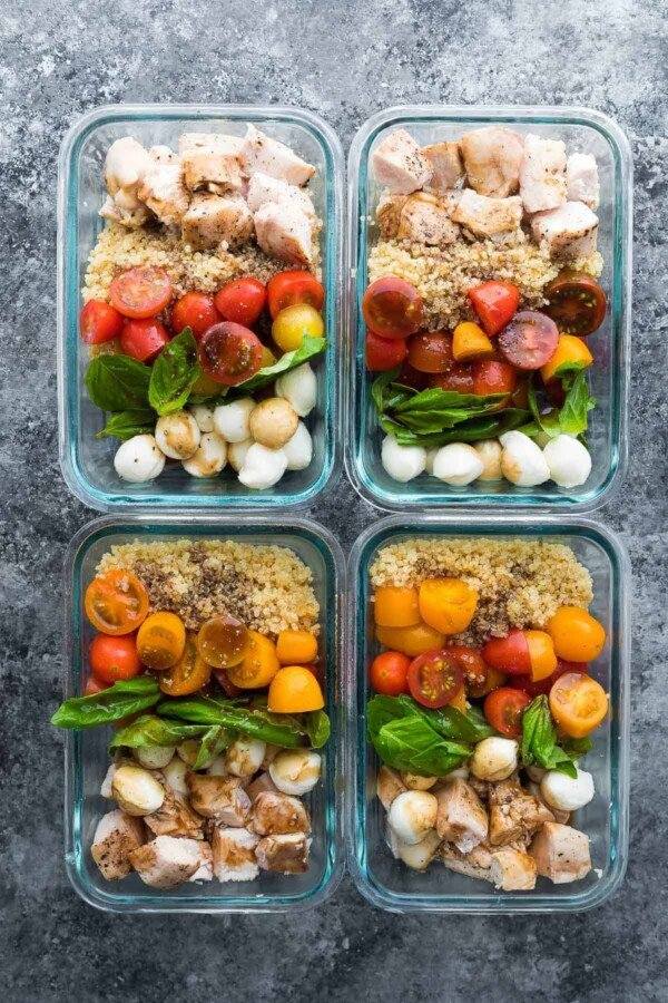 Caprese Chicken Salad Meal Prep Bowls