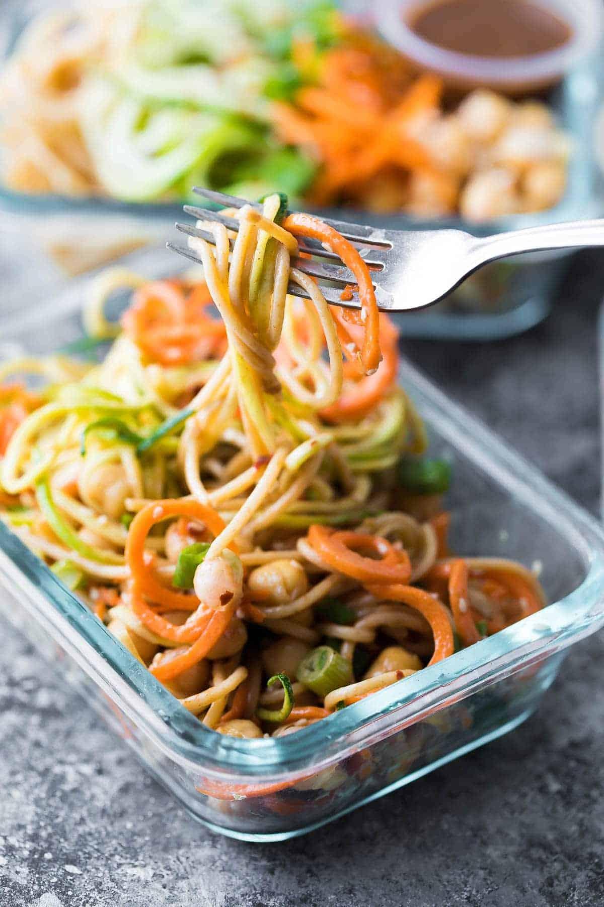 fork picking up a bite of Cold Sesame Noodles