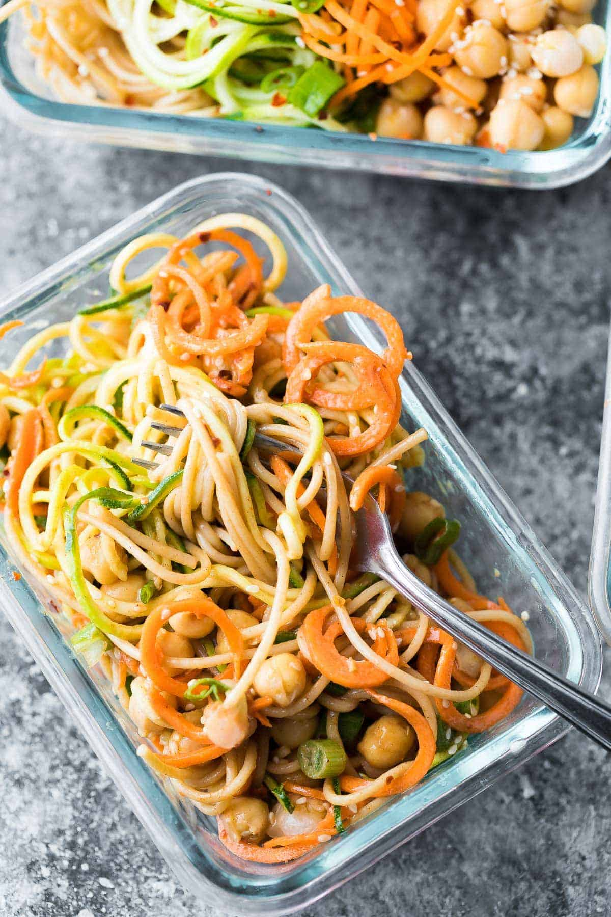 Cold Sesame Noodle Meal Prep Bowls with fork in glass container