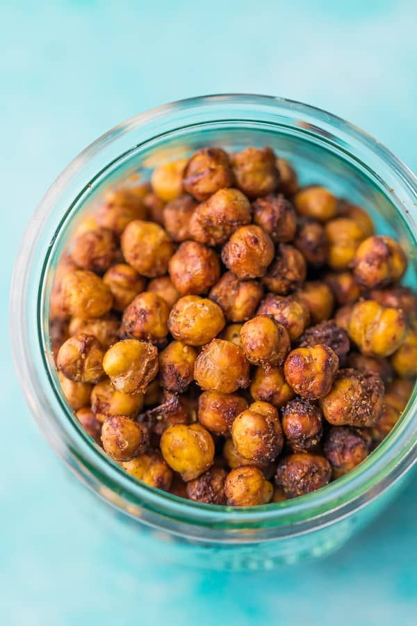 roasted chickpeas recipe in jar with blue background