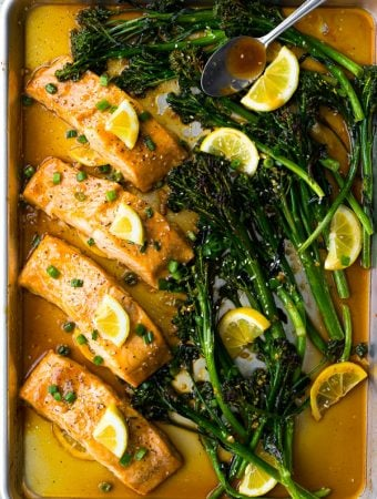 Sheet Pan Honey Lemon Salmon & Broccolini