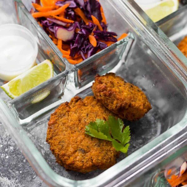 Budget Friendly Meal Prep Tricks- salmon patties in meal prep container