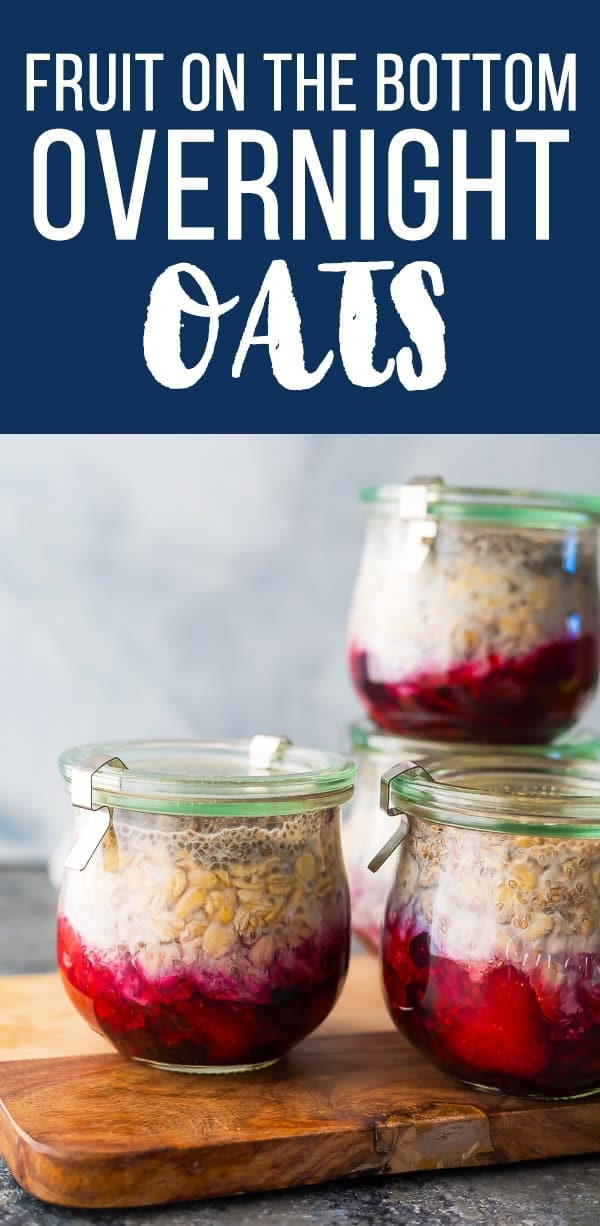 Fruit on the bottom overnight oats are an easy, 5-ingredient and 10-minute meal prep breakfast recipe. Vegan overnight oats, healthy overnight oats, dairy free overnight oats #sweetpeasandsaffron #mealprep #breakfast #vegan #glutenfree #oatmeal