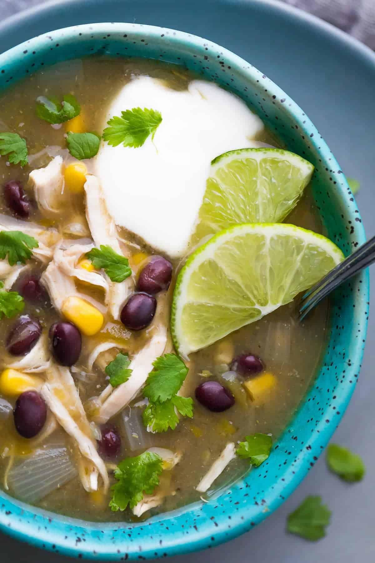 Shortcut Instant Pot Chicken Chile Verde Soup Sweet Peas And Saffron