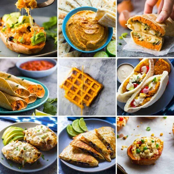 collage image with many sweet potato recipe ideas