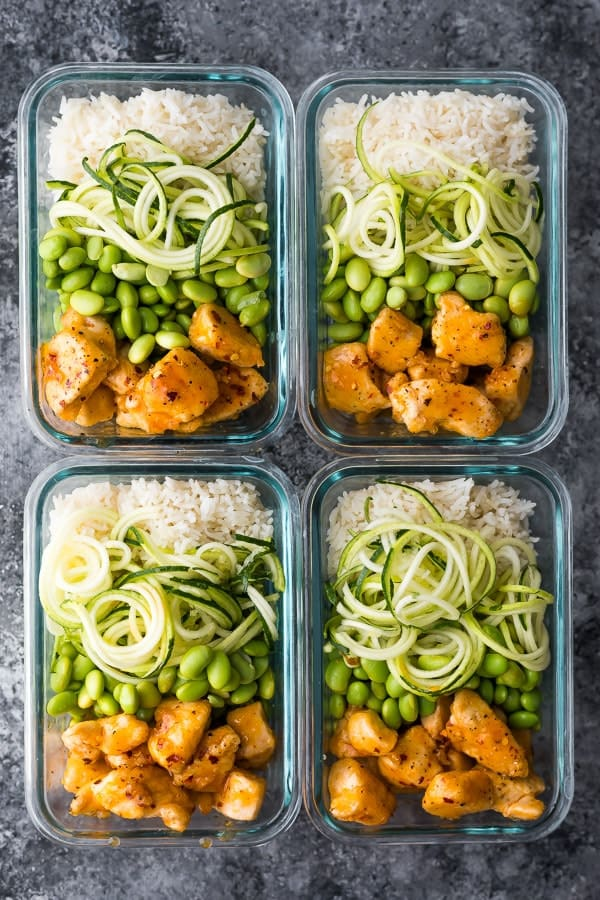 Healthier firecracker chicken meal prep bowls